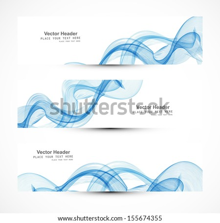 Abstract header blue wire line wave whit vector design - stock vector
