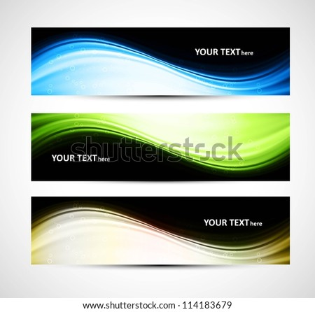 Abstract header bright colorful wave vector whit - stock vector