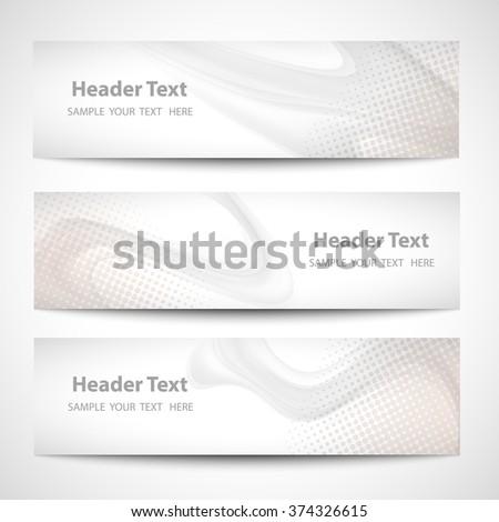 Abstract header gray wave white vector design - stock vector