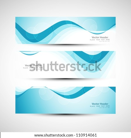 Abstract header line blue wave vector whit background - stock vector