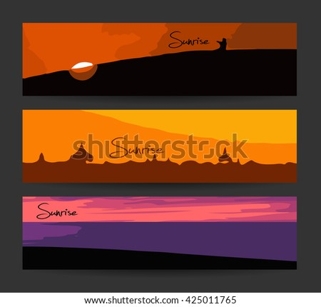 Abstract header or banner set. Creative design. Sunrise sunset banners. Vector. Isolated. Summer time wallpaper, summer fun, summer party, summer background, summer image. - stock vector