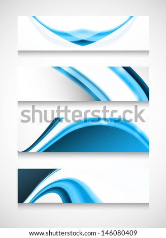 Abstract headers four set  blue wave vector design - stock vector