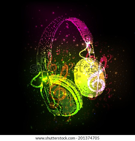 Abstract Headphones with note, easy all editable - stock vector
