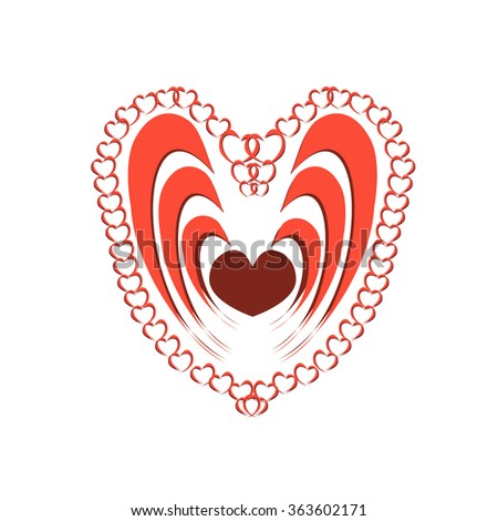 Abstract Heart Assembled From Smaller Hearts. Vector, Illustration - stock vector