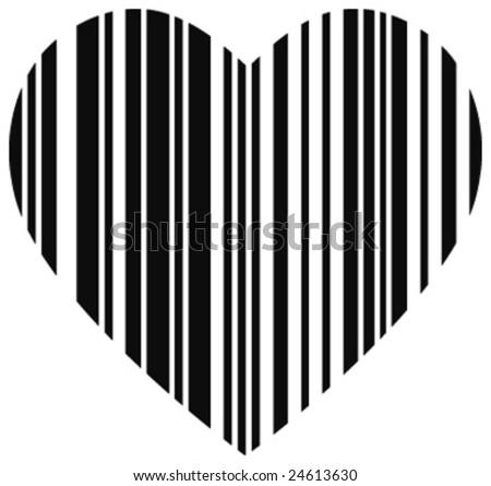 Abstract heart barcode - stock vector