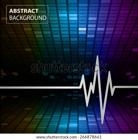 Abstract heart beats cardiogram illustration. vector. Pixels, Mosaic, Table. text box. card