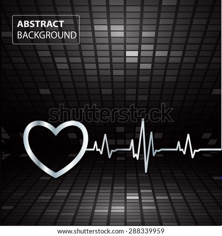 Abstract heart beats cardiogram illustration. vector. Pixels, Mosaic, Table. text box. card. black backgrounds.