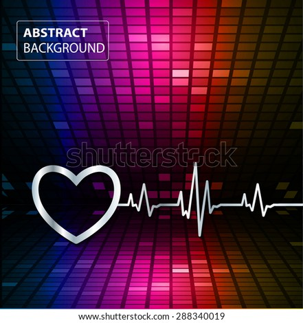 Abstract heart beats cardiogram illustration. vector. Pixels, Mosaic, Table. text box. card. blue pink orange backgrounds.