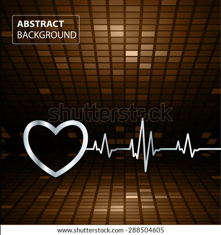 Abstract heart beats cardiogram illustration. vector. Pixels, Mosaic, Table. text box. card. dark brown backgrounds.