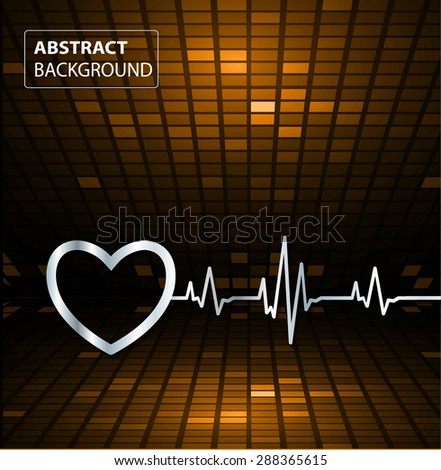 Abstract heart beats cardiogram illustration. vector. Pixels, Mosaic, Table. text box. card. orange backgrounds.