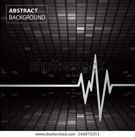 Abstract heart beats cardiogram. Pulse icon. black background. Mosaic table, pixels - stock vector