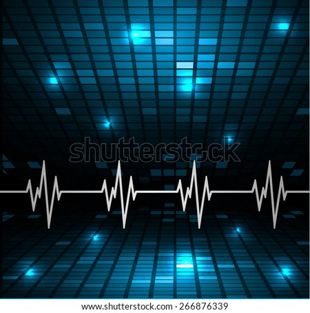Abstract heart beats cardiogram. Pulse icon. blue background. Mosaic table, pixels - stock vector
