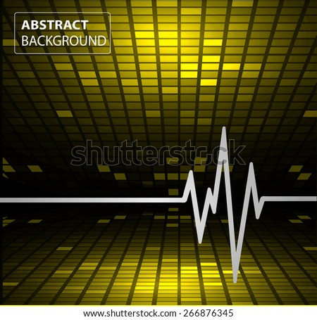 Abstract heart beats cardiogram. Pulse icon. yellow background. Mosaic table, pixels - stock vector