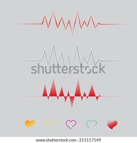 Abstract heart beats cardiogram wave, ECG line  illustration ,vector EPS10 - stock vector