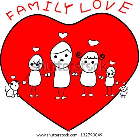 abstract heart family - stock vector