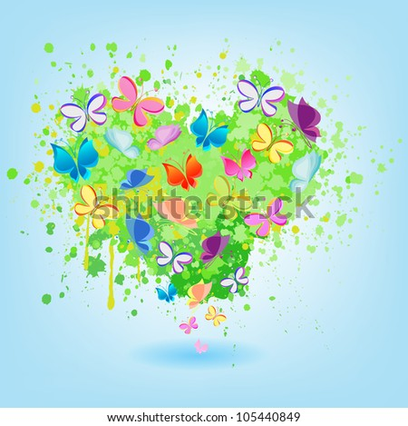 ABSTRACT HEART FROM GREEN STAINS AND BUTTERFLIES on a blue background