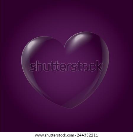 Abstract Heart Icon, purple - stock vector