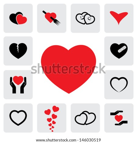 abstract heart icons ( signs ) for love, happiness- vector graphic. This love icon represents concepts of passion, platonic love, break-up, healing & protection of heart's health, prevention - stock vector