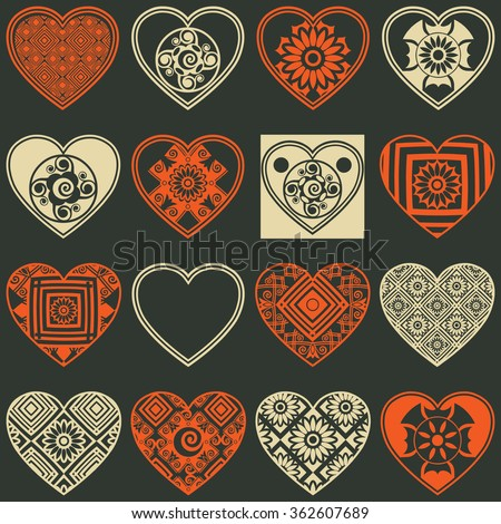 abstract heart icons, vector design elements - stock vector