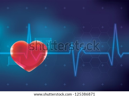 Abstract Heart Monitor interface on a Dark Blue Background
