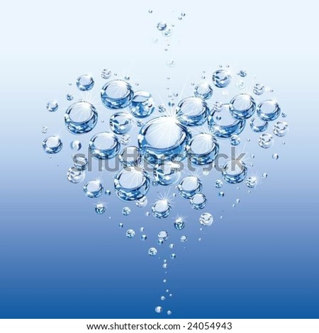Abstract Heart of air bubbles in water - stock vector