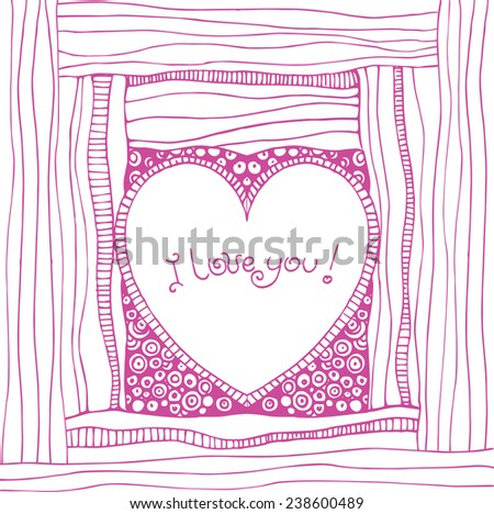 Abstract heart on striped background, hand drawn illustration - stock vector