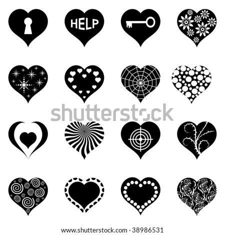 Abstract Heart's Set. Sixteen Vector Illustration's. - stock vector