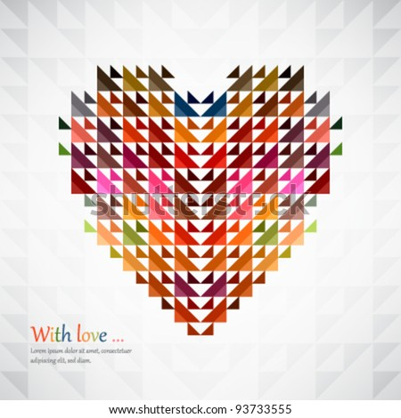 Abstract heart shape background made by triangles. Vector. - stock vector