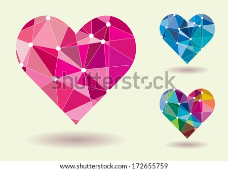 Abstract Heart Shape Colorful Vector Illustration - stock vector