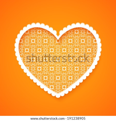 Abstract heart silhouette with openwork pattern. Vector illustration
