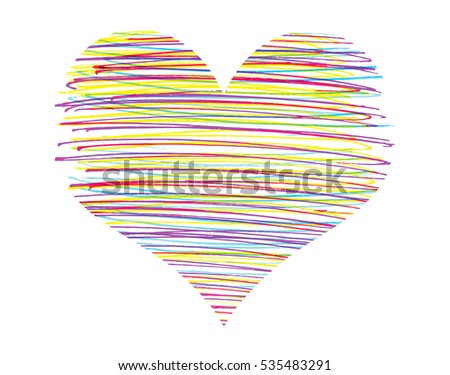 Abstract heart with bright colorful strokes pattern