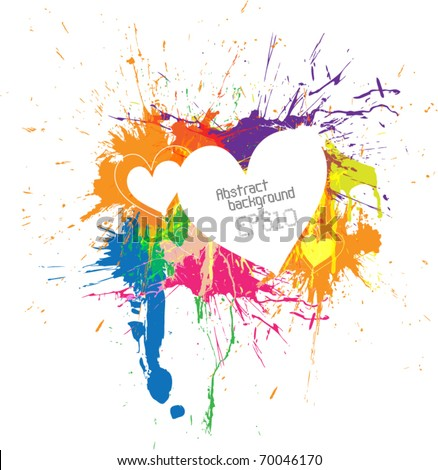 Abstract Hearts Colorful Paint Ink Splashes