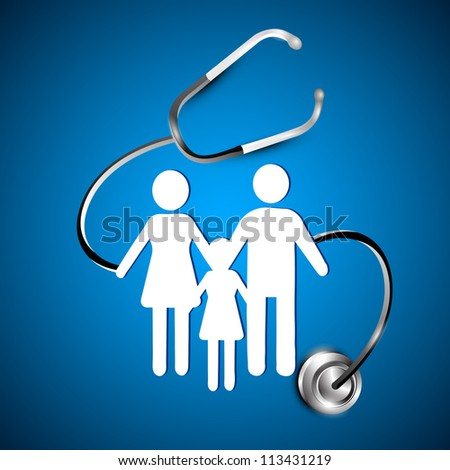 Abstract heath care background with white silhouette of a family under stethoscope. EPS 10. - stock vector