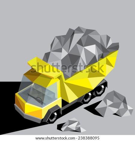 abstract heavy truck facet design - stock vector