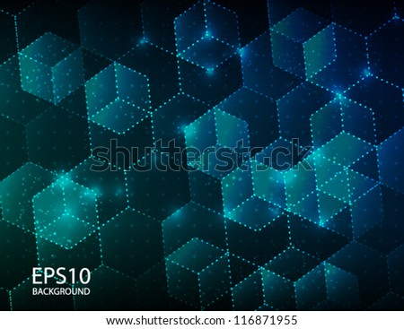 Abstract hexagon technology background. Vector illustration. - stock vector