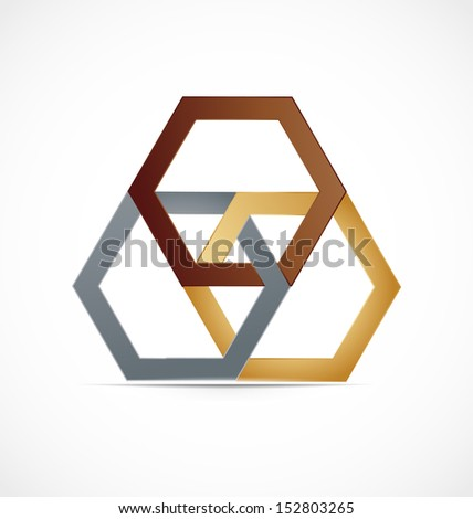 Abstract hexagonal metal vector design  - stock vector