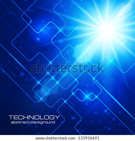 Abstract hi-technology blue background with bright burst. Vector illustration. - stock vector