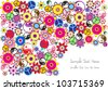 abstract hippie background design with colorful floral motive and place for your text isolated on white background - stock vector