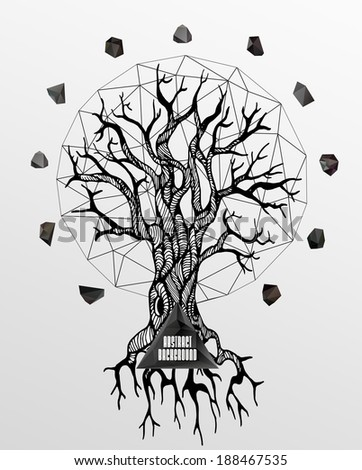 Abstract hipster poster with illustration drawn by hand and polygonal design element, symbol, sign for tattoo - stock vector