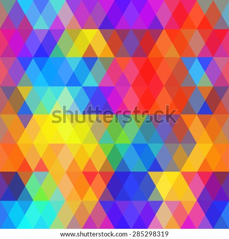 Abstract hipsters seamless pattern with bright colored rhombus. Geometric background rainbow color. Vector - stock vector