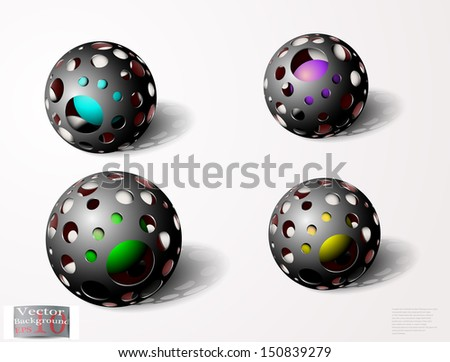 abstract holed spheres - stock vector