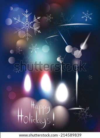 Abstract holiday magic  background with candles and wine glasses - stock vector