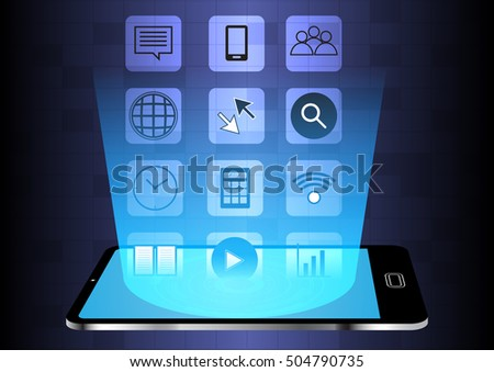 Abstract hologram application with smartphone vector concept design
