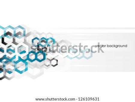 Abstract horizontal background with hexagons. Vector version. - stock vector