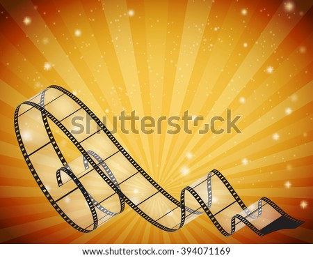 abstract horizontal background with retro film strip, rays and stars - stock vector