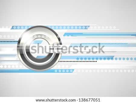 Abstract horizontal white - grey background with metal circles and blue lines. Vector version. - stock vector
