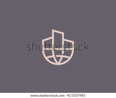 Abstract house globe logo design template. Line real estate planet sign. Universal global realty vector icon - stock vector