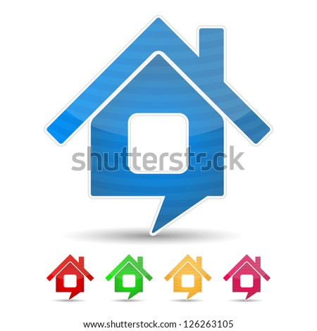 Abstract house icon shaped as speech bubble, vector eps10 illustration - stock vector