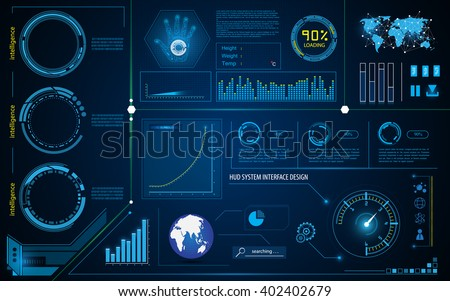 abstract hud interface intelligence technology innovation system working concept - stock vector
