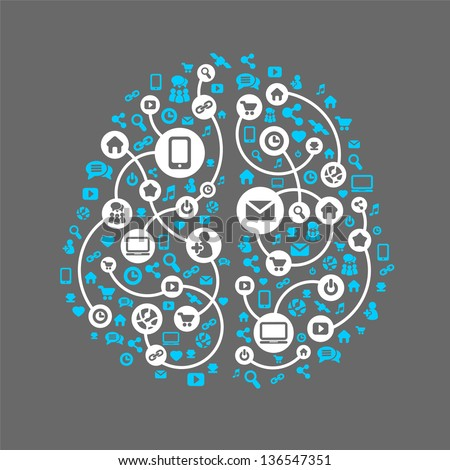 Abstract human brain and social media, background of the icons vector - stock vector